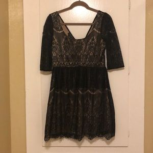MM COUTURE lace black and GOLD/ tan dress